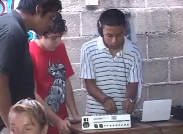 Mexican Deejay with unplugged mixer